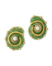 Kenneth Jay Lane | Green Jade Snail Clip Earring | Lyst