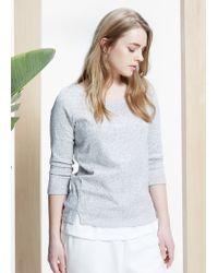 Violeta by Mango Gray Leopard Cotton Sweatshirt