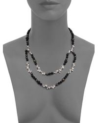 Alexis Bittar Miss Havisham Liquid Crystal, 8Mm Grey Shell Pearl & Black Onyx Broken Glass Double-Strand Beade