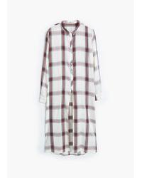 Mango - White Check Shirt - Lyst