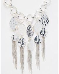 Oasis | Metallic Textured Disc Collar Necklace | Lyst