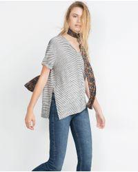 Zara   Gray T-shirt With Slits   Lyst