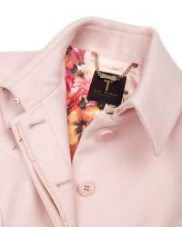 Ted Baker Pink Sollel Short Peplum Coat
