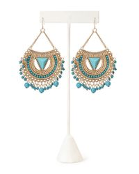 Forever 21 - Blue Fringed Crescent Drop Earrings - Lyst