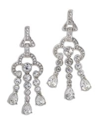 Kenneth Jay Lane | Metallic 3 Row Crystal Drop Clip Earring | Lyst