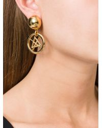 Moschino   Metallic Symbol Clip On Earrings   Lyst
