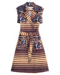 KENZO | Blue Printed Cotton Piqué Dress - Multicolor | Lyst