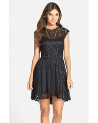 Adelyn Rae Black Lace Fit & Flare Dress