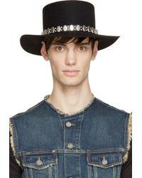 Saint Laurent - Black Rabbit Felt Silver Stud Hat for Men - Lyst