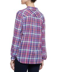 Joie Blue Aidan Plaid Tab-Sleeve Blouse