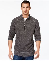Tommy Bahama | Gray Tommy Bahma Reversible Heathered Slub Half-zip Sweater for Men | Lyst
