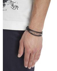 Simon Carter | Black Woven Leather Wrap Bracelet for Men | Lyst