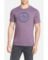 Original Penguin | Purple 'circle Logo' Slim Fit Graphic T-shirt for Men | Lyst