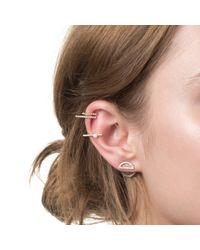 Astrid & Miyu | Pink Half Circle Ear Jacket In Rose Gold | Lyst