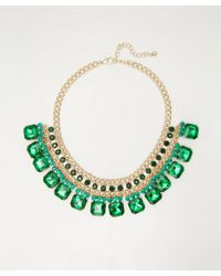 Sparkling Sage - Green Gold and Emerald Crystal Statement Necklace - Lyst