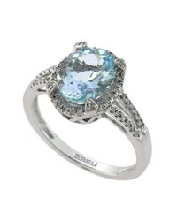 Effy | Blue 14 Kt. White Gold And Diamond Ring | Lyst