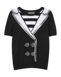 Boutique Moschino - Black Monochrome Fine-knit Cotton Top - Lyst