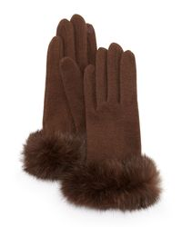 Portolano   Brown Fur-cuff Knit Tech Gloves   Lyst