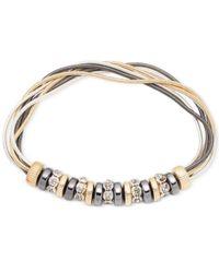 Nine West Metallic Tri-tone Multi-strand Stretch Bracelet