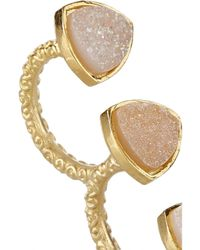 Dara Ettinger - Metallic Mimi Gold-Plated Druzy Two-Finger Ring - Lyst