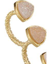 Dara Ettinger | Metallic Mimi Gold-Plated Druzy Two-Finger Ring | Lyst