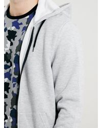 TOPMAN - Gray Grey Kangaroo Pocket Black Zip Hoodie for Men - Lyst