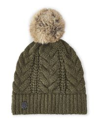 Vince Camuto | Green Cable Knit Real Fur Pom-Pom Beanie | Lyst