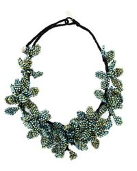 Night Market | Green Beaded Flower Necklace | Lyst