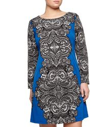 Melissa Masse - Blue Long-sleeve Lace-print Dress - Lyst