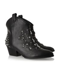 Schutz Black Studded Leather Boots