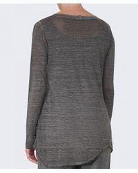 Grizas Gray Linen Long Sleeve Top