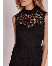 Missguided - Scallop Lace High Neck Playsuit Black - Lyst