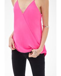 Forever 21 - Pink Chiffon Surplice Cami - Lyst