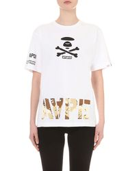Aape - White Camouflage Logo-print Cotton-jersey T-shirt - Lyst