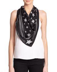 Givenchy | Black Stars Silk Scarf | Lyst