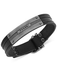 Fossil | Silver-Tone And Black Leather Plaque Bracelet for Men | Lyst