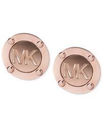 Michael Kors | Pink Rose Gold-Tone Logo Stud Earrings | Lyst