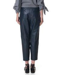 Tibi - Blue Leather Wrap Pants - Lyst