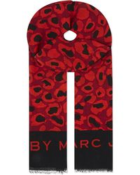 Marc By Marc Jacobs | Red Painted Leopard Scarf | Lyst