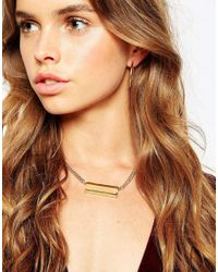 ASOS - Metallic Semi Precious Triple Bar Necklace - Lyst