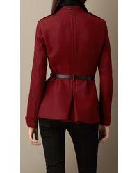 Burberry - Red Double Wool Twill Feminine Pea Coat - Lyst