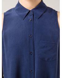 Equipment - Blue 'Mina' Front Tie Shirt - Lyst