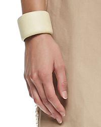 Brunello Cucinelli - White Leather Cuff Bracelet - Lyst