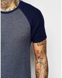 ASOS Blue Muscle T-shirt With Contrast Raglan Sleeves In Waffle Fabric In Navy for men