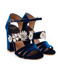 Laurence Dacade Blue Velvet Jasmine Sandals