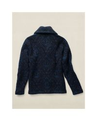 RRL - Blue Jacquard Cotton-wool Cardigan for Men - Lyst