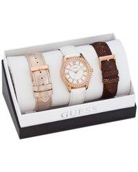 Guess - Metallic Women'S Interchangeable Leather Strap Watch Set 37Mm U0351L3 - Lyst