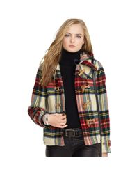 Polo Ralph Lauren Red Plaid Wool Duffle Coat