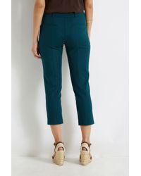 Oasis Blue Crop Cotton Trousers