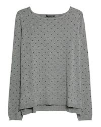 Mango Gray Embossed Polka Dot Sweater